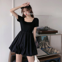 Dress Spring 2021 White, black S,M,L Short skirt singleton  Short sleeve commute square neck High waist Solid color Socket A-line skirt routine 18-24 years old Type X Korean version Splicing five thousand six hundred and ninety-one #