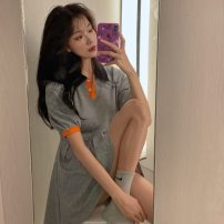 Dress Spring 2021 Grey color matching Average size Middle-skirt singleton  Short sleeve commute Polo collar High waist Solid color Socket A-line skirt routine Others 18-24 years old Type A Korean version 8153#