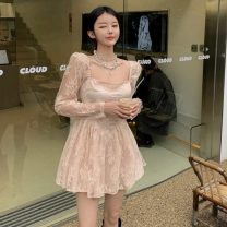 Dress Summer 2021 Apricot S, M Short skirt singleton  Short sleeve commute other High waist Solid color Socket Ruffle Skirt routine Others 18-24 years old Type H Korean version Embroidery