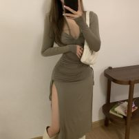 Dress Summer 2021 Army green Average size Mid length dress singleton  Long sleeves commute V-neck High waist Solid color Socket A-line skirt routine Others 18-24 years old Type A Korean version fold other