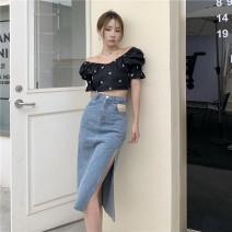 Fashion suit Summer 2021 S. M, l, average size Black top, white top, blue skirt, black skirt 18-25 years old