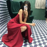 Dress Summer 2021 Black, Retro Red S,M,L longuette singleton  Sleeveless commute V-neck High waist Solid color Socket Big swing other camisole 18-24 years old Type A Korean version backless 51% (inclusive) - 70% (inclusive) other other