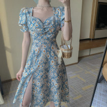Dress Summer 2021 Daisy dress S,M,L Middle-skirt singleton  Short sleeve commute square neck High waist Decor Socket A-line skirt puff sleeve straps 18-24 years old Type A Korean version printing 9116# 31% (inclusive) - 50% (inclusive) Chiffon