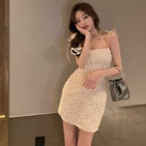 Dress Summer 2021 Picture color Average size Middle-skirt singleton  Sleeveless commute square neck High waist Solid color Socket A-line skirt other camisole 18-24 years old Type A Korean version