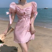 Dress Summer 2021 Pink M, L Middle-skirt singleton  Short sleeve commute square neck High waist Solid color Socket A-line skirt puff sleeve Others 18-24 years old Type A Korean version 71% (inclusive) - 80% (inclusive) other