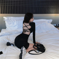 Dress Autumn 2020 black Average size Short skirt singleton  Long sleeves commute square neck High waist Solid color Socket Big swing routine Others 18-24 years old Type A Korean version backless