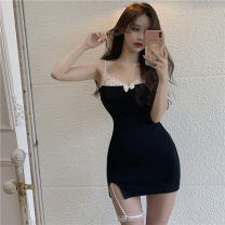 Dress Summer 2021 black S,M,L Middle-skirt singleton  Sleeveless commute One word collar High waist Solid color Socket A-line skirt other camisole 18-24 years old Type A Korean version printing cotton