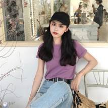 T-shirt Taro purple mango yellow white Average size Summer of 2018 Short sleeve Crew neck easy Regular routine commute cotton 31% (inclusive) - 50% (inclusive) 18-24 years old Korean version youth Yihao shop 8856#