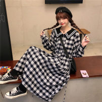 Dress Spring 2021 Black and White Check Dress S,M,L,XL,2XL longuette singleton  Long sleeves Sweet Admiral High waist lattice Socket A-line skirt routine Others 18-24 years old Type A Tagkita / she and others Button, strap, stitching 51% (inclusive) - 70% (inclusive) other cotton solar system