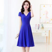 Dress Summer 2021 Sapphire blue, pink M,L,XL,2XL,3XL Mid length dress singleton  Short sleeve commute V-neck High waist Solid color zipper A-line skirt Petal sleeve 30-34 years old Type X Korean version Splicing More than 95% Chiffon