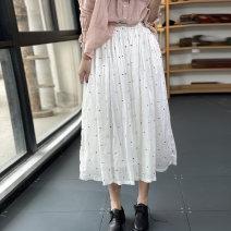 skirt Summer 2021 Average size Black, white longuette Sweet Natural waist A-line skirt Dot Type A ID22039 More than 95% hemp Frenulum Mori
