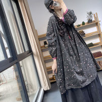 Dress Spring 2021 Black flower , Coffee flower , Color with geometry Average size Mid length dress singleton  Long sleeves Sweet Crew neck Loose waist Broken flowers Socket A-line skirt routine Type A Pleats, stitching, buttons, prints SX3035 More than 95% hemp solar system