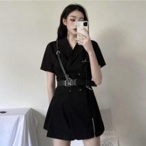 Women's large Summer 2020 Small black skirt + belt, long sleeve small black skirt + belt S (recommended 70-85 kg), m (recommended 85-100 kg), l (recommended 100-120 kg), XL (recommended 120-140 kg), 2XL (recommended 140-160 kg), 3XL (recommended 160-180 kg), 4XL (recommended 180-200 kg) Dress commute
