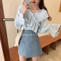 Women's large Spring 2021 Blue top, white top, blue skirt, black skirt Average size (80 ~ 100kg), l plus (100 ~ 120kg), XL (120 ~ 140kg), 2XL (140kg ~ 160kg), 3XL (160kg ~ 180kg), 4XL (180kg ~ 200kg) shirt Two piece set commute Self cultivation moderate Cardigan Long sleeves Solid color V-neck xz/yt