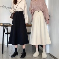 skirt Winter 2020 S (recommended 80-90 kg), m (recommended 90-100 kg), l (recommended 100-110 kg), XL (recommended 120-140 kg), 2XL (recommended 140-160 kg), 3XL (recommended 160-180 kg), 4XL (recommended 180-200 kg) Black, off white Mid length dress commute High waist A-line skirt Solid color