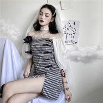 Women's large Summer 2020 Black and white, purple and white Size M (80-100kg), l (100-120kg), XL (120-140kg), 2XL (140kg-160kg), 3XL (160kg-180kg), 4XL (180kg-200kg) Dress singleton  commute Short sleeve Korean version One word collar puff sleeve Short skirt