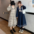 Women's large Autumn 2020 L (100 ~ 120 kg), XL (120 ~ 140 kg), 2XL (140 ~ 160 kg), 3XL (160 ~ 180 kg), 4XL (180 ~ 200 kg) Dress singleton  commute Straight cylinder Socket Long sleeves Plaid, solid Retro Admiral shirt sleeve 18-24 years old Medium length other bow