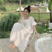 Nightdress Other / other white Size M (90-100kg), l (100-120kg), XL (120-140kg), 2XL (140kg-160kg), 3XL (160kg-180kg), 4XL (180kg-200kg) Sweet pajamas Middle-skirt summer Solid color juvenile square neck other xz/jr