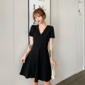 Dress Summer of 2019 black L【100-115】,XL【115-130】,2XL【130-150】,3XL【150-170】,4XL【175-200】 Middle-skirt singleton  Short sleeve commute V-neck High waist Solid color Socket A-line skirt routine Others 18-24 years old Other / other Korean version