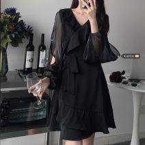 Dress Spring 2021 White, black S (80-90 kg), m (90-100 kg), l (100-120 kg), XL (120-140 kg), 2XL (140-160 kg), 3XL (160-180 kg), 4XL (180-200 kg recommended) Mid length dress singleton  Long sleeves commute V-neck Solid color 18-24 years old Korean version xz/jr