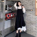 Women's large Autumn 2020 Suspender skirt, shirt + suspender skirt S (80-90 kg), m (90-100 kg), l (100-120 kg), XL (120-140 kg), 2XL (140-160 kg), 3XL (160-180 kg), 4XL (180-200 kg recommended) Dress Two piece set commute Straight cylinder moderate Socket Long sleeves Solid color Korean version