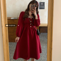 Dress Spring 2021 Black, red L (100 ~ 120 kg), XL (120 ~ 140 kg), 2XL (140 ~ 160 kg), 3XL (160 ~ 180 kg), 4XL (180 ~ 200 kg) Mid length dress singleton  Long sleeves commute square neck High waist Solid color A-line skirt routine 18-24 years old Korean version