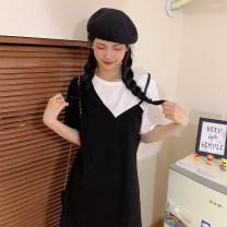 Women's large Summer 2020 black Dress singleton  commute Straight cylinder moderate Socket Short sleeve Solid color Korean version Crew neck routine Short skirt