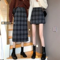 skirt Winter 2020 S (80 ~ 90 kg), m (90 ~ 100 kg), l (100 ~ 110), l (110 ~ 120), XL (120 ~ 140), 2XL (140 ~ 160), 3XL (160 ~ 180), 4XL (180 ~ 200 Jin) are recommended Black short, coffee short, black long, coffee long Short skirt commute High waist A-line skirt lattice Type A 18-24 years old