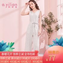 Casual pants Dark blue S,M,L,XL Summer of 2019 Ninth pants Jumpsuit High waist Versatile routine 96% and above Ailian hemp