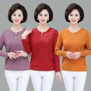 Middle aged and old women's wear Spring 2020 fashion T-shirt easy singleton  Solid color 40-49 years old Socket thin Crew neck routine routine cotton Long sleeves
