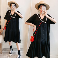 Women's large Summer 2021 black 4XL [180-200 kg recommended], 3XL [160-180 kg recommended], 2XL [140-160 kg recommended], XL [120-140 kg recommended], l [100-120 kg recommended] Dress singleton  other easy thin Short sleeve Solid color other Polyester, others Three dimensional cutting routine