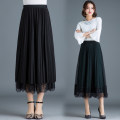 skirt Winter of 2018 One size fits all [1'8-2'5 recommended] Black, dark green Mid length dress commute High waist Pleated skirt Solid color Type A 25-29 years old More than 95% Lace New European clothes Korean version