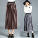 skirt Winter of 2018 One size fits all [1'8-2'5 recommended] Mid length dress Versatile High waist Pleated skirt Solid color Type A 25-29 years old More than 95% other New European clothes