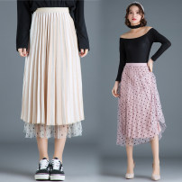 skirt Winter of 2018 One size fits all [1'8-2'5 recommended] Grey, black, pink, beige Mid length dress Versatile High waist Pleated skirt Solid color Type A 25-29 years old Qz60-a837 lace velvet skirt More than 95% Lace New European clothes