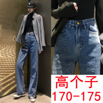 Jeans Spring of 2019 Blue (regular), dark blue (Extended) S,M,L,XL trousers High waist Straight pants routine 18-24 years old Cotton denim light colour #903-1 91% (inclusive) - 95% (inclusive)
