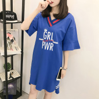 Nightdress Other / other V-neck ribbon blue nightdress 160(M),165(L),170(XL),175(XXL) Sweet Short sleeve pajamas Middle-skirt summer letter youth V-neck cotton printing More than 95% pure cotton 200g and below