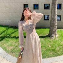 Dress Spring 2021 Pink Average size longuette singleton  Long sleeves commute V-neck High waist Broken flowers Socket A-line skirt routine Type A Button H0405038