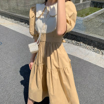 Dress Spring 2021 Sky blue, Khaki Average size longuette singleton  Long sleeves commute Crew neck High waist Solid color Socket A-line skirt puff sleeve Type A H0329039 51% (inclusive) - 70% (inclusive) polyester fiber