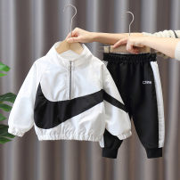 suit Chao Bao Liang Bei White, black 90cm,100cm,110cm,120cm,130cm,140cm,150cm male spring and autumn leisure time Long sleeve + pants 2 pieces routine No model Zipper shirt nothing Solid color chemical fiber children Expression of love Class B Polyester 100% Chinese Mainland Zhejiang Province