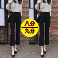 Casual pants XS,S,M,L,XL,2XL Spring of 2019 Ninth pants Flared trousers High waist Versatile routine 18-24 years old 91% (inclusive) - 95% (inclusive) Other / other Cotton blended fabric pocket