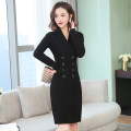 Dress Autumn of 2019 3188 black with pocket, 3168 black with pocket, 3189 black without pocket S,M,L,XL,2XL,3XL Mid length dress singleton  Long sleeves commute tailored collar middle-waisted Solid color double-breasted One pace skirt routine Others 35-39 years old Type X Ol style brocade