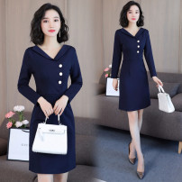 Dress Autumn of 2019 blue S,M,L,XL,2XL Mid length dress singleton  Long sleeves commute V-neck middle-waisted Solid color zipper A-line skirt routine Others 35-39 years old Type A Button