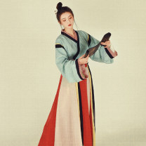 Hanfu 81% (inclusive) - 90% (inclusive) Winter of 2019 Green shangru, tattered skirt, contrast color shirt M (about one and a half months), l (about one and a half months), s (about one and a half months) spandex
