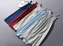 Dress Spring of 2019 Red background wave point [19-4-01a], blue background wave point [19-4-01a], white background wave point [19-4-01a], sky blue [19-4-01a], bean green [19-4-01a] 160,165,170,175 Middle-skirt singleton  Sleeveless street Socket straps Other / other More than 95% polyester fiber
