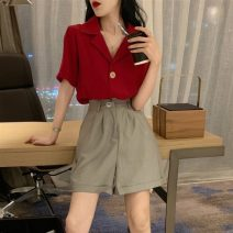 Women's large Summer 2021 Red shirt + grey shorts, red shirt + black shorts M. Large L, large XL, 2XL, 3XL, 4XL shirt Two piece set commute easy Short sleeve routine Three dimensional cutting Other / other Button