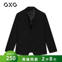 man 's suit black GXG Business gentleman routine 165/S,170/M,175/L,180/XL,185/XXL GY113040E Polyester 65.8% viscose 27.3% wool 6.9% standard Double breasted go to work No slits youth Long sleeves spring routine tide Casual clothes Flat lapel Solid color 2019