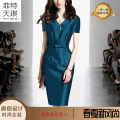 Dress Summer of 2019 Middle-skirt singleton  Short sleeve commute V-neck middle-waisted Solid color zipper A-line skirt routine Others 35-39 years old Ol style 379# 71% (inclusive) - 80% (inclusive) Cellulose acetate
