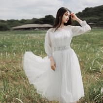 Dress Autumn of 2019 white S,M,L Mid length dress singleton  three quarter sleeve Sweet Crew neck High waist Solid color Princess Dress bishop sleeve Type A Maixu More than 95% nylon princess