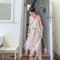 Dress Summer of 2019 Apricot M, L Mid length dress singleton  Sleeveless Sweet One word collar High waist Decor Irregular skirt camisole Type H Maixu