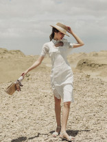 Dress Summer 2020 white S,M,L Mid length dress singleton  Short sleeve Sweet stand collar High waist Solid color Socket A-line skirt routine Others Type A Asymmetric, Gouhua, hollow, zipper other